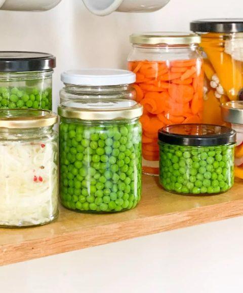 bocaux verre conserve petits pois carotte